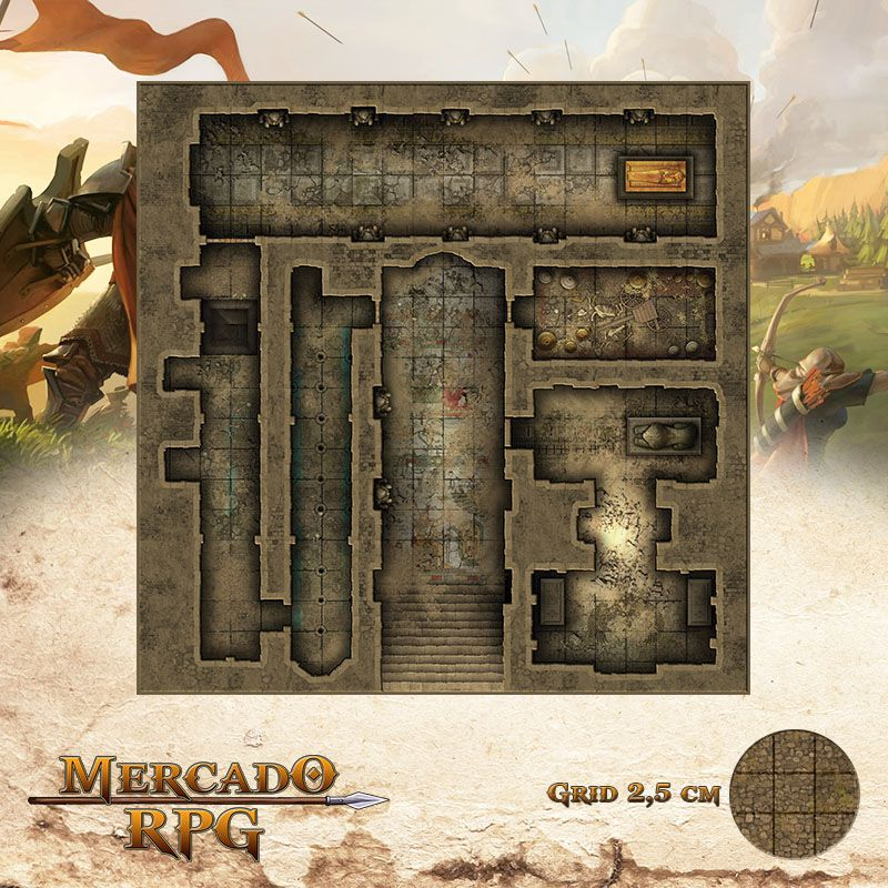 Tumba do Rei Louco 50x50 - RPG Battle Grid D&D  - Mercado RPG