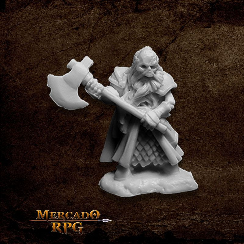 Undead Dwarf Fighter - Miniatura RPG  - Mercado RPG