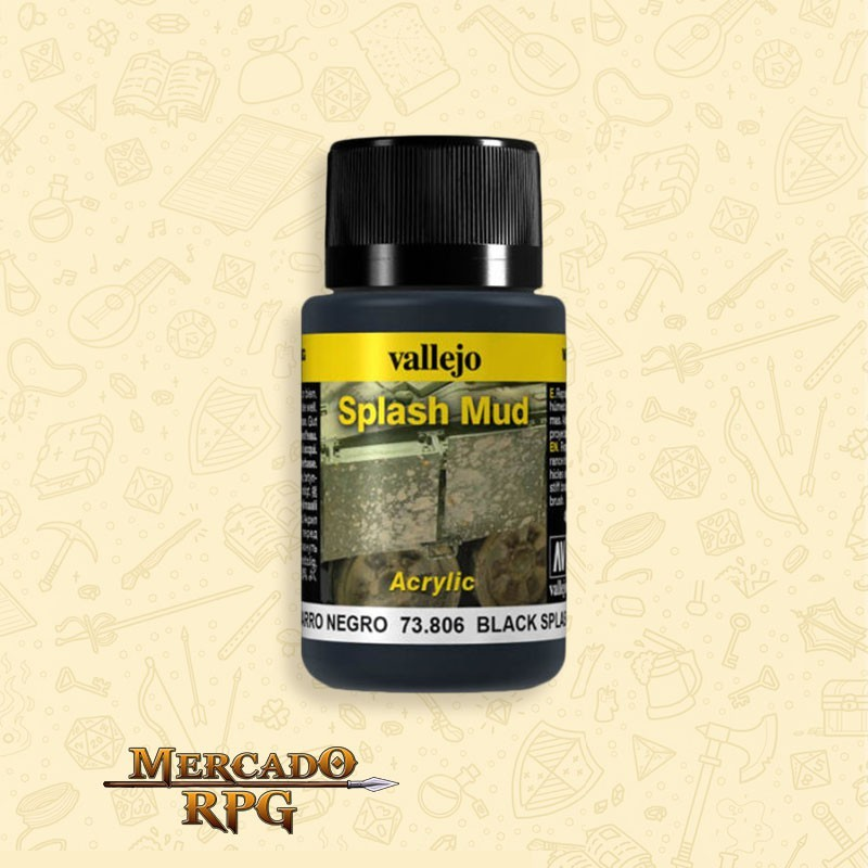Vallejo Weathering: Black Splash Mud 40ml - RPG