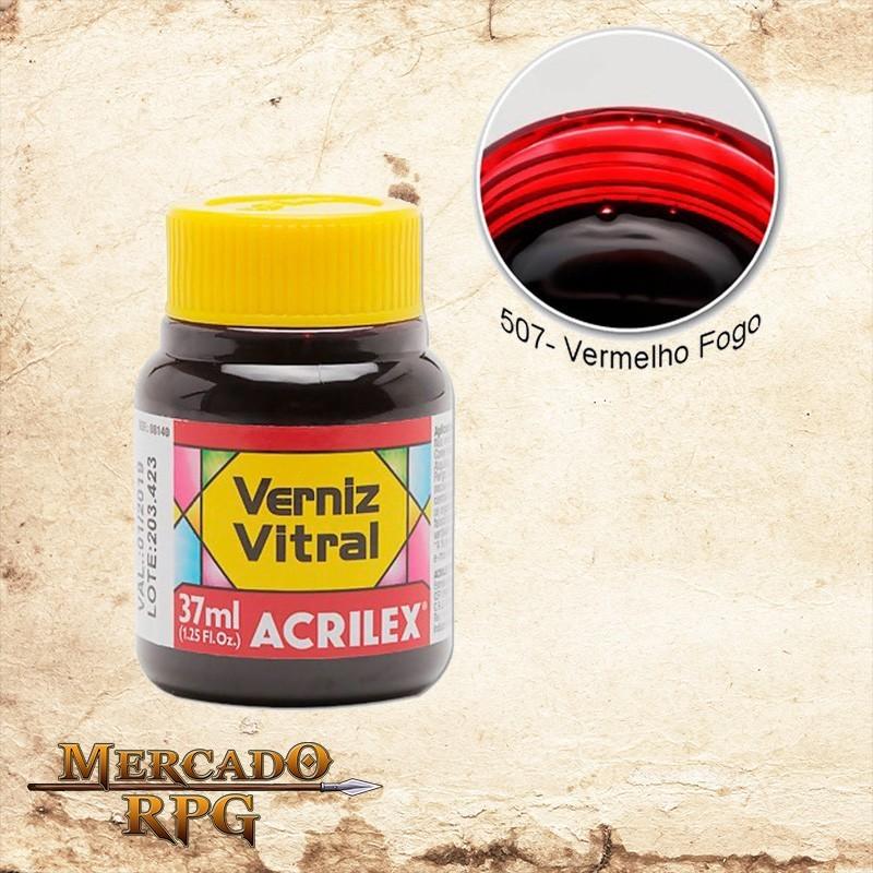 Verniz Vitral Vermelho Fogo 37ml - Acrilex - RPG
