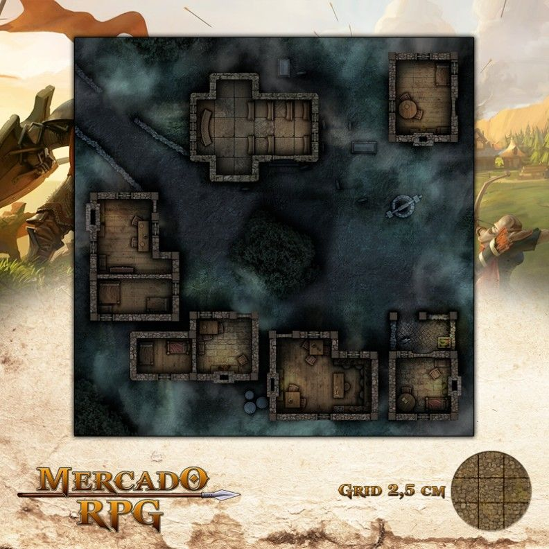 Vila Mal-Assombrada 50x50 - RPG Battle Grid D&D  - Mercado RPG