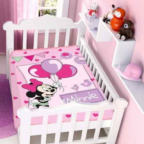 Cobertor Jolitex Infantil Berço Bebê Disney Minnie Festa Rosa