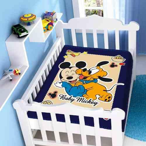 Cobertor Jolitex Infantil Berço Bebê Disney Mickey Divertido Marinho
