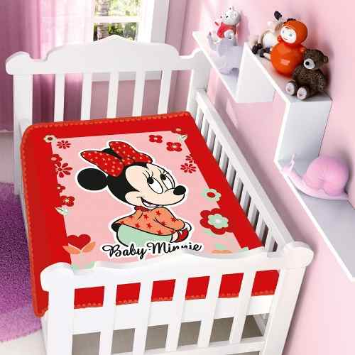 Cobertor Jolitex Infantil Berço Bebê Disney Minnie Flor Verm