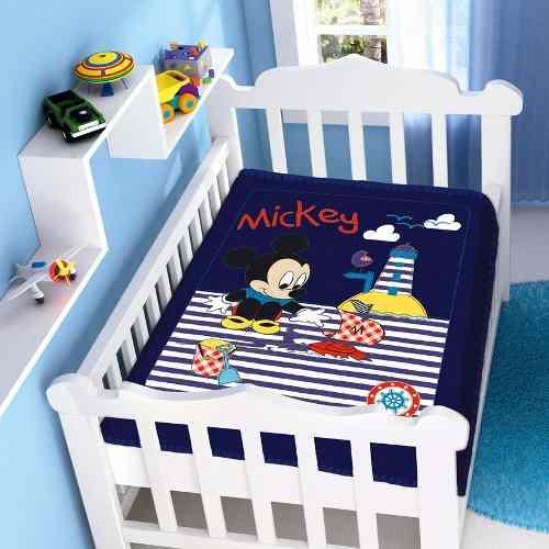 Cobertor Jolitex Infantil Berço Bebê Disney Mickey Barco Marinho