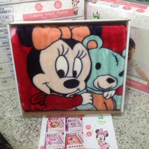 Cobertor Jolitex Infantil Berço Bebê Disney Minnie Ursinho Vermelho