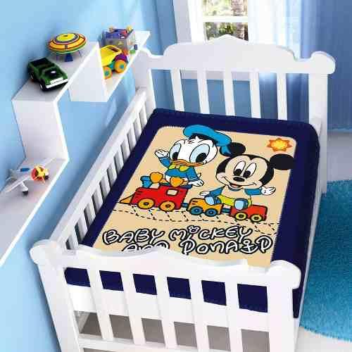 Cobertor Jolitex Infantil Berço Bebê Disney Mickey Donald Marinho