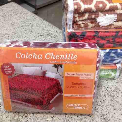 Colcha Chenille Jolitex Queen Com Franja 2,20x2,40m Vinho