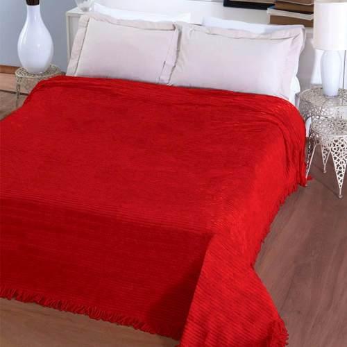 Colcha Chenille Jolitex Lisa Com Franja 2,20x2,40m Vermelha