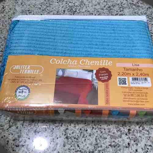 Colcha Chenille Jolitex Lisa Com Franja 2,20x2,40m Azul
