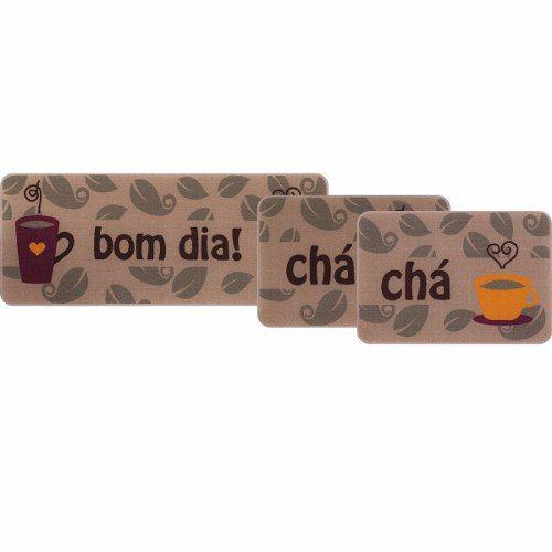 Jogo De Tapete De Cozinha Linha Gourmet 03 Peças Chá Jolitex