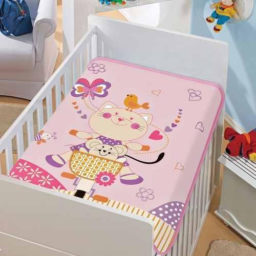Cobertor Jolitex Infantil Berço Bebê Tradicional Gatinha Pedalando