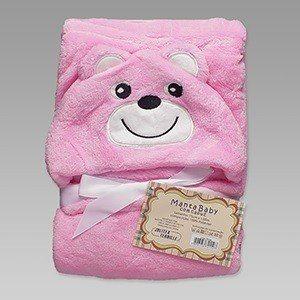 Manta Baby Com Capuz Jolitex 0,75x1,00m Bichos Ursinho Rosa