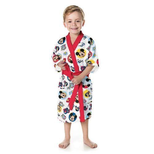 Roupão Infantil Felpudo Disney Ave Mickey Tam P (4 A 6 Anos)