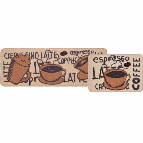 Jogo De Tapete De Cozinha Cook 02 Peças Cappuccino Jolitex
