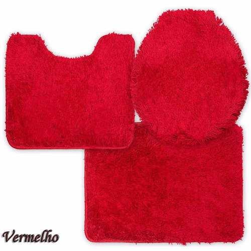 Jogo de Tapete de Banheiro Volpi Vermelho 03 Peças Jolitex