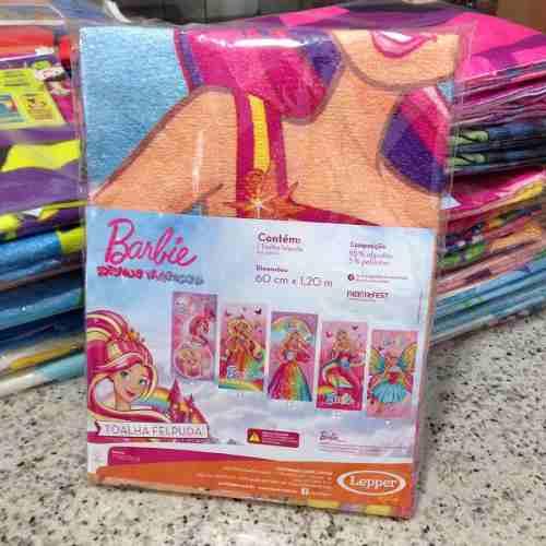 Toalha De Banho Infantil Felpuda Barbie Arco-íris Lepper #1