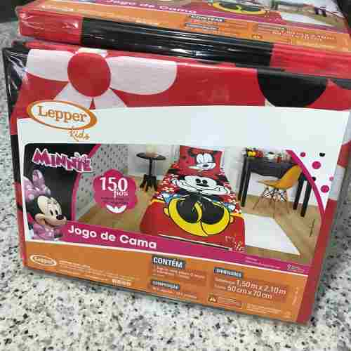 Jogo Lençol Infantil Minnie 02 Peças Lepper 1,50x2,10m Oficial