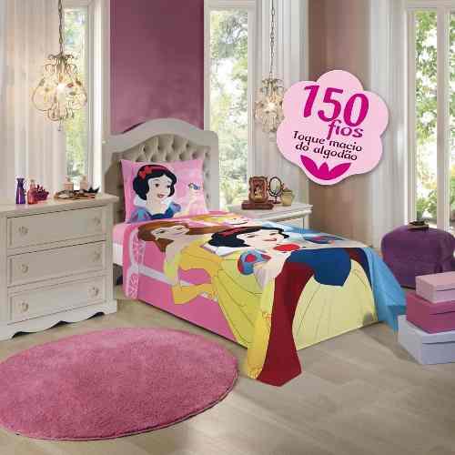 Jogo De Lençol Infantil Princesas 02 Peças Lepper 1,50x2,10m