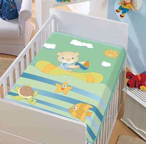 Cobertor Jolitex Infantil Berço Bebê Tradicional Barquinho Verde