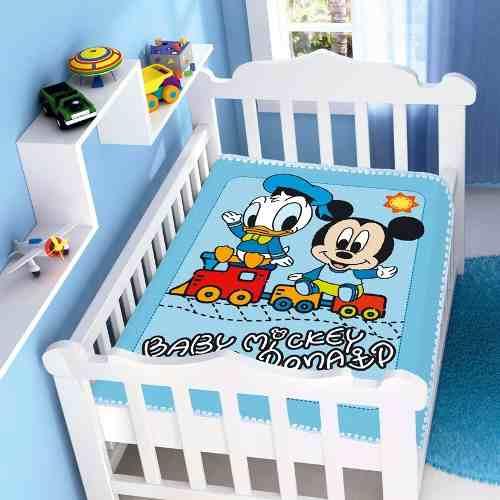 Cobertor Jolitex Infantil Berço Bebê Disney Mickey Donald Azul