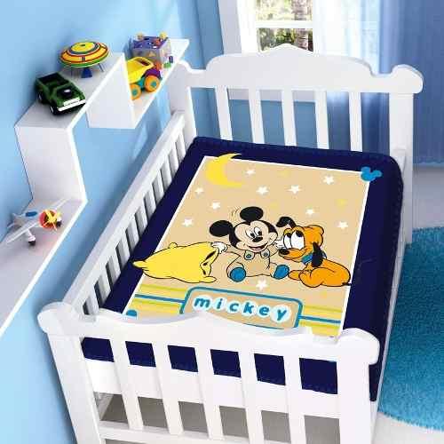 Cobertor Jolitex Infantil Berço Bebê Disney Mickey Soninho Marinho