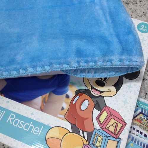 Cobertor Jolitex Infantil Berço Bebê Disney Mickey Soninho Azul
