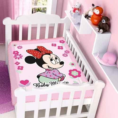 Cobertor Jolitex Infantil Berço Bebê Disney Minnie Flor Rosa