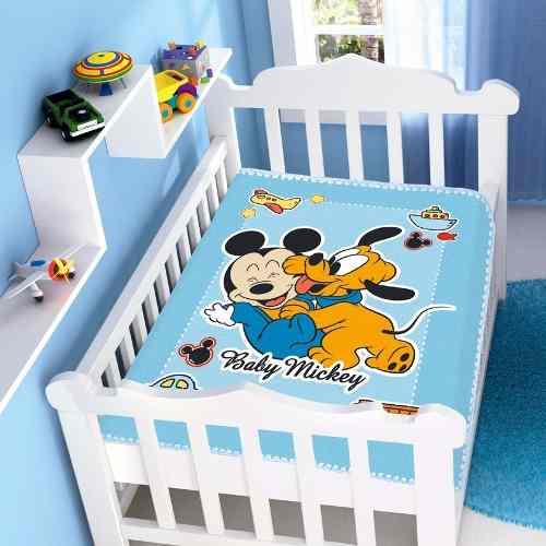 Cobertor Jolitex Infantil Berço Bebê Disney Mickey Divertido Azul