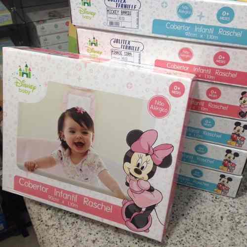 Cobertor Jolitex Infantil Berço Bebê Disney Minnie Coração Vermelho
