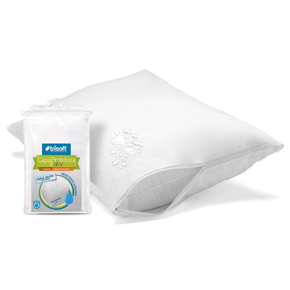 Capa Protetora Travesseiro Baby Impermeável Trisoft 200 Fios Zíper