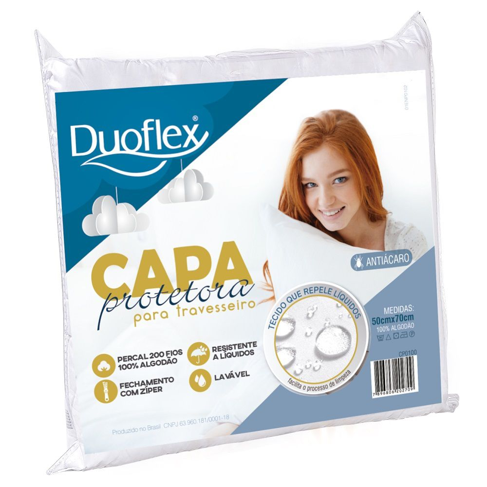 Capa Protetora Travesseiro Impermeável Duoflex 200 Fios com Zíper