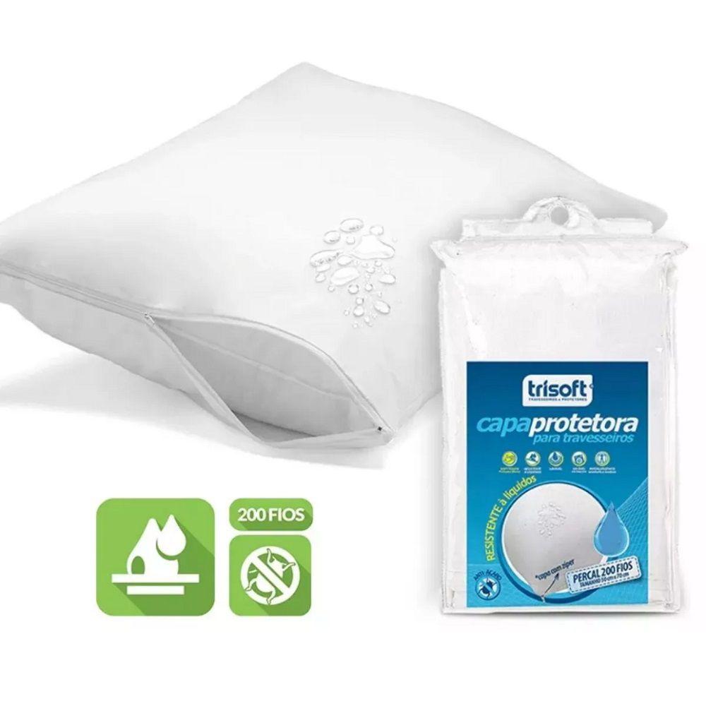Capa Protetora Travesseiro Impermeável Trisoft 200 Fios com Zíper