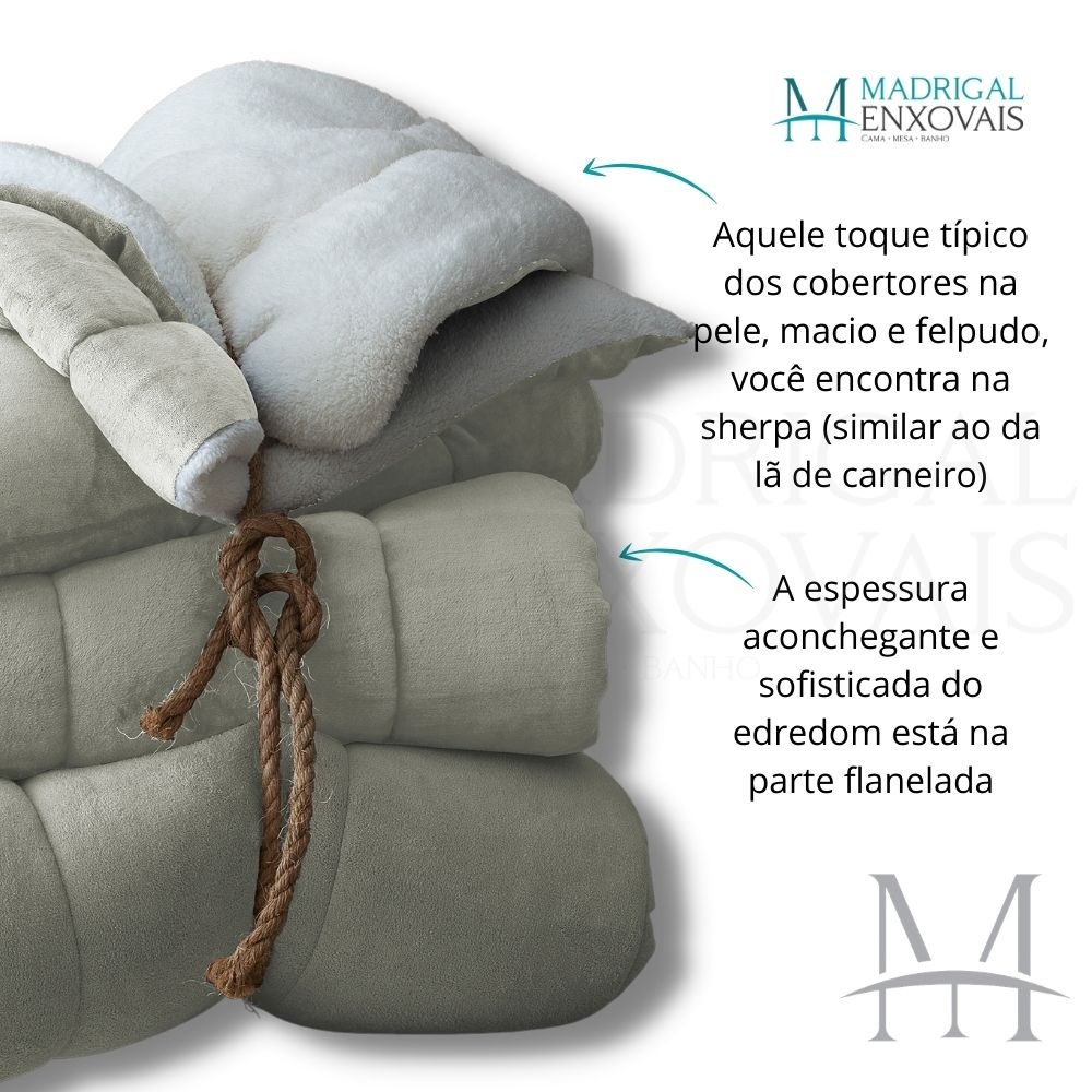 Coberdrom Queen Sherpa Naturalle Liso 2,20x2,45m Linho