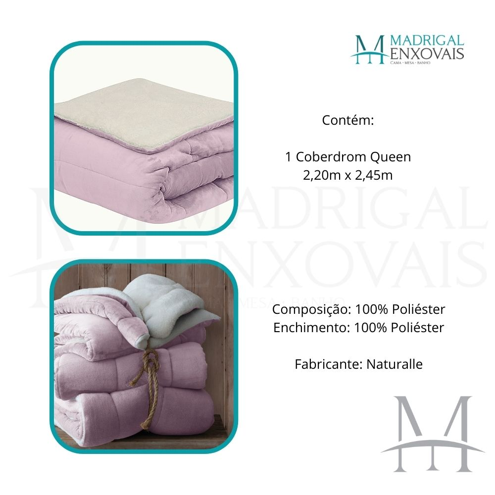 Coberdrom Queen Sherpa Naturalle Liso 2,20x2,45m Rosa