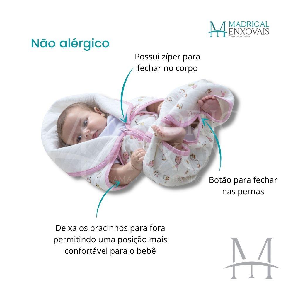 Cobertor Baby Sac Jolitex Saco de Dormir Bebê Berço Algodão Rosa