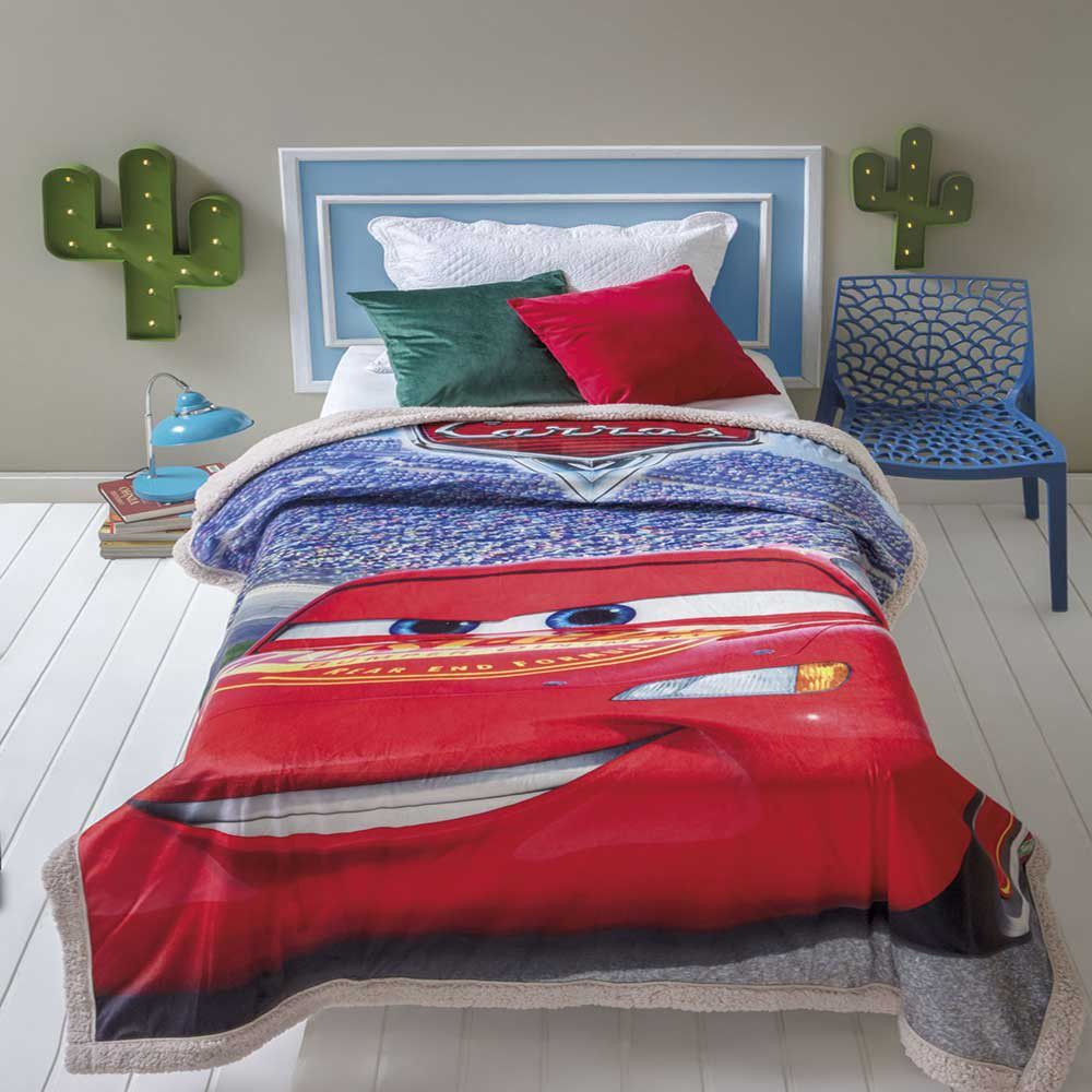 Cobertor com Sherpa Jolitex Solteiro Digital Disney Carros