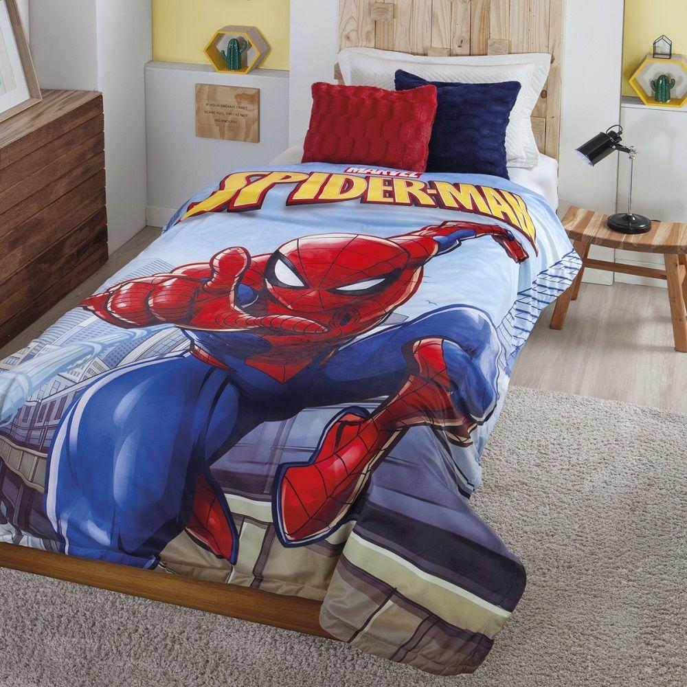 Cobertor com Sherpa Jolitex Solteiro Digital Disney Homem Aranha