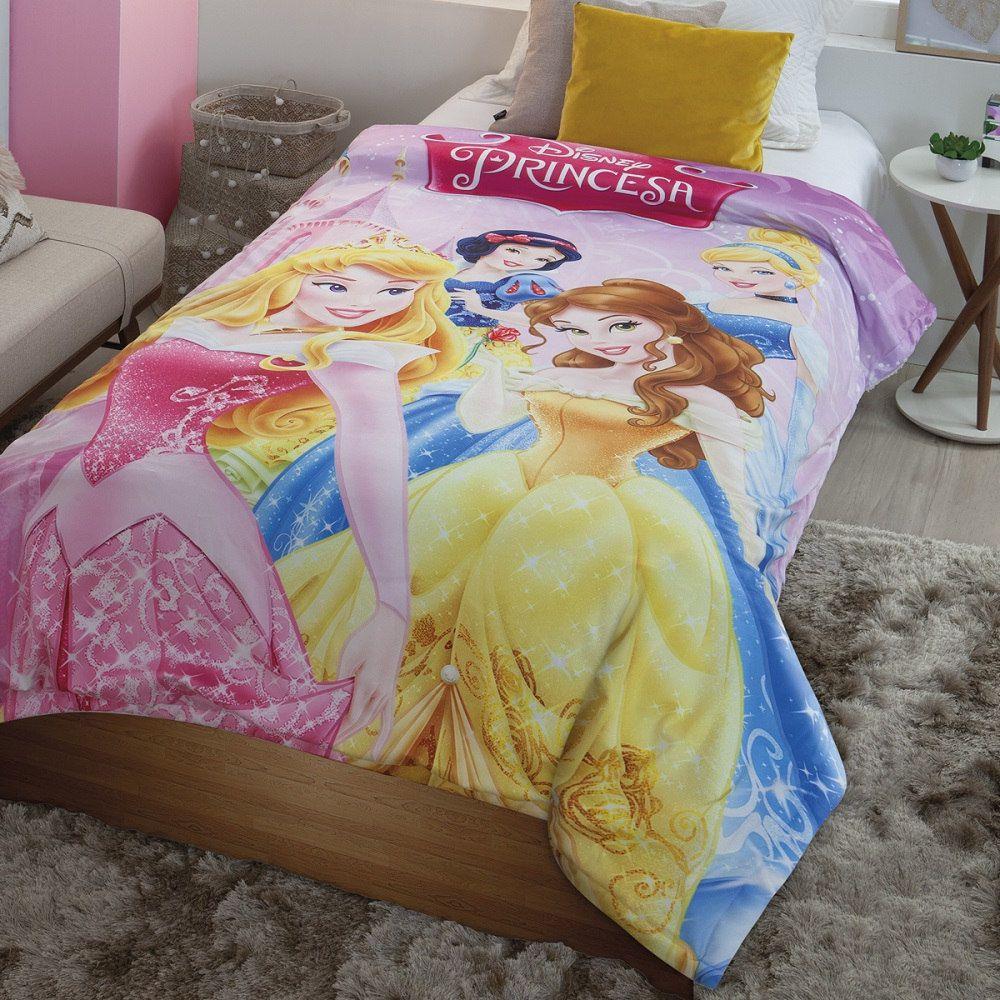 Cobertor com Sherpa Jolitex Solteiro Digital Disney Princesas