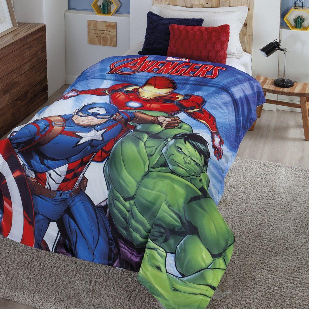 Cobertor com Sherpa Jolitex Solteiro Digital Avengers Vingadores