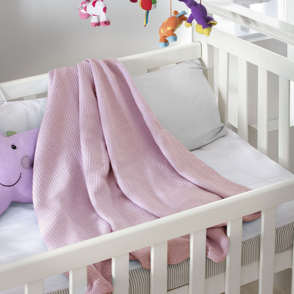 Cobertor Jolitex Bebê Infantil Ninho 100% Algodão 0,90x1,10 Rosa