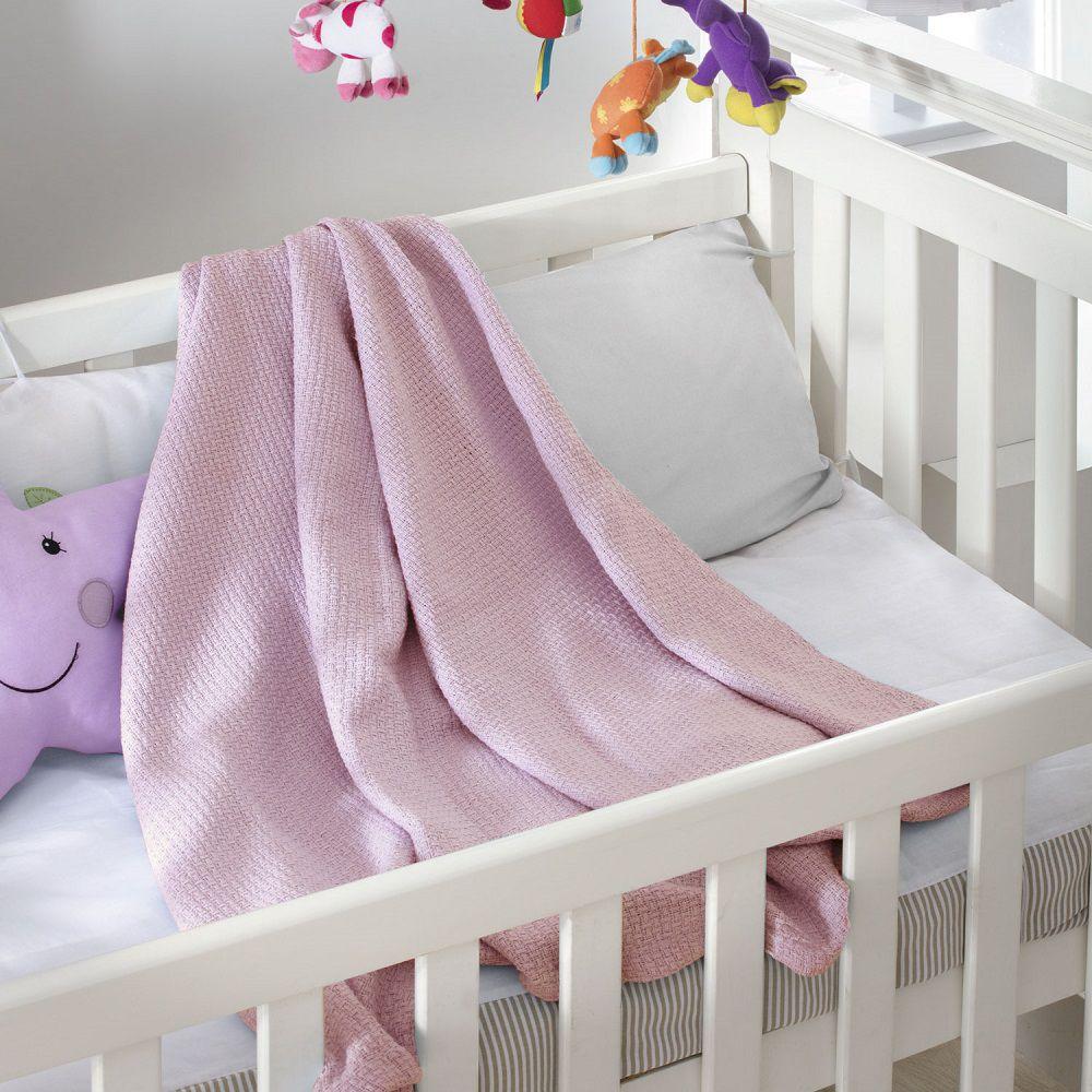 Cobertor Jolitex Bebê Infantil Ninho 100% Algodão 1,00x1,40 Rosa