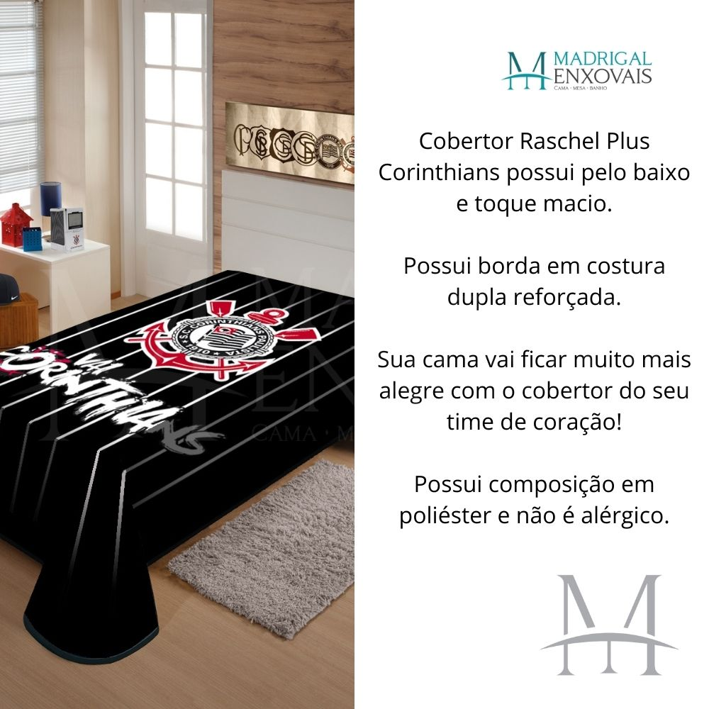 Cobertor Jolitex Casal Corinthians Raschel Time Toque Macio