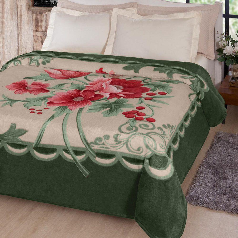 Cobertor Jolitex Casal Kyor Plus 1,80x2,20m Fiore Verde