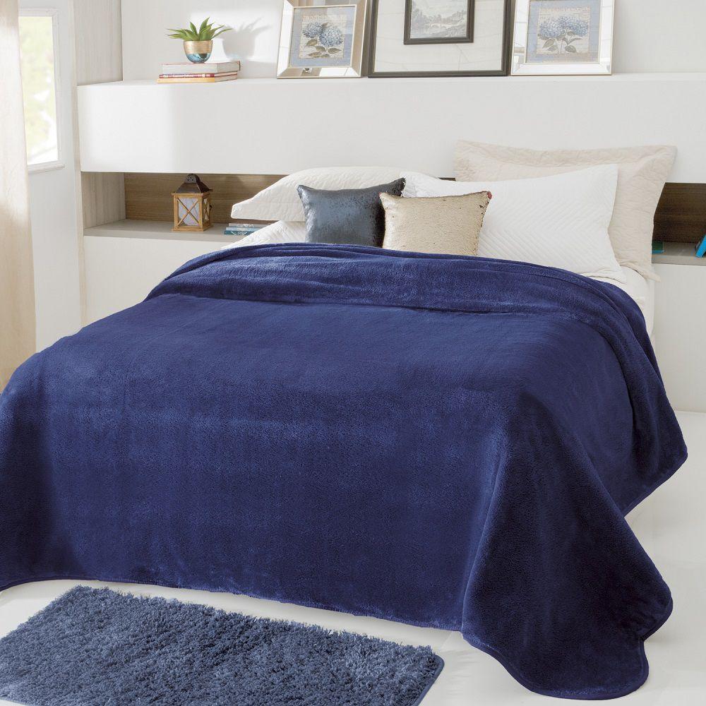 Cobertor Jolitex Casal Kyor Plus 1,80x2,20m Liso Marinho
