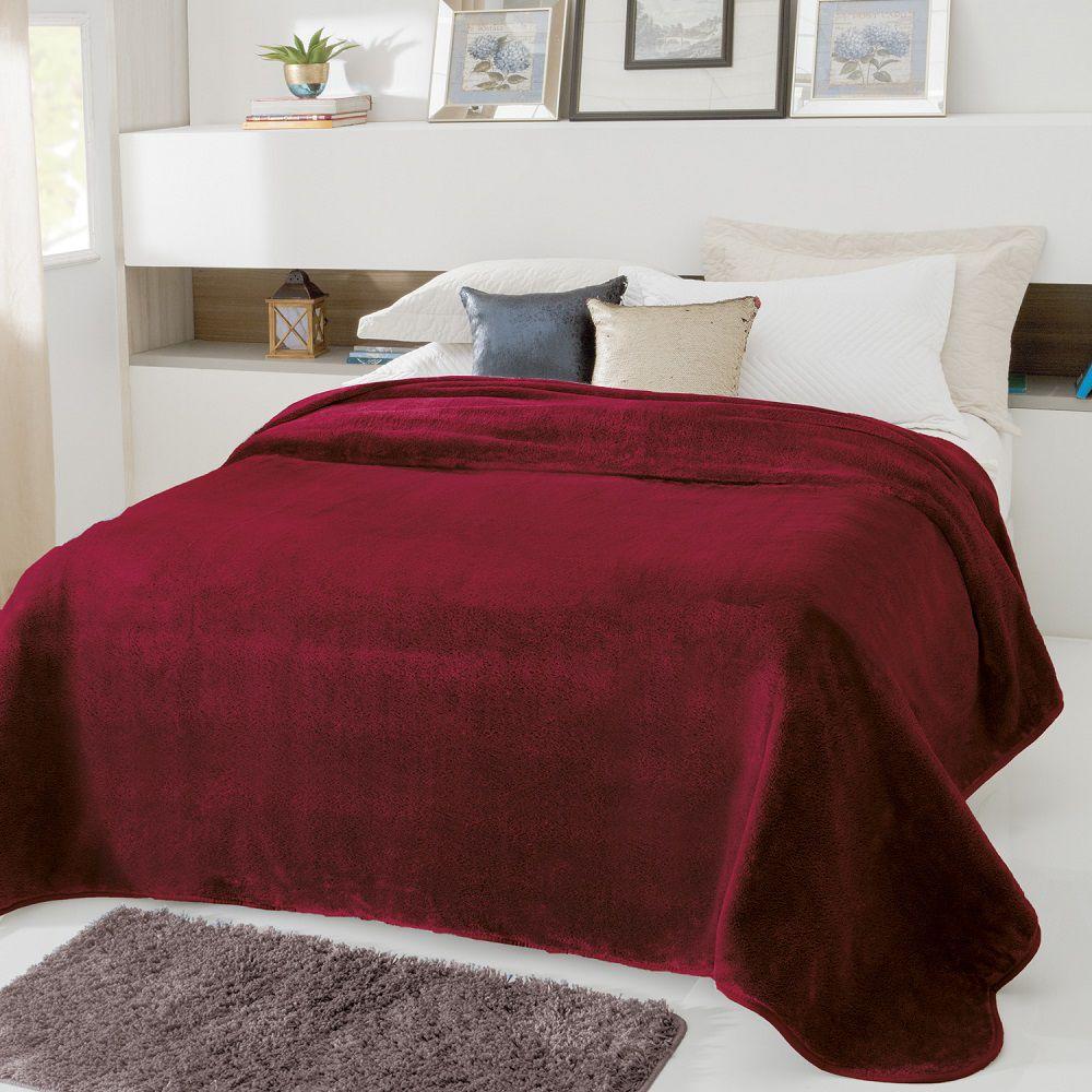 Cobertor Jolitex Casal Kyor Plus 1,80x2,20m Liso Vinho