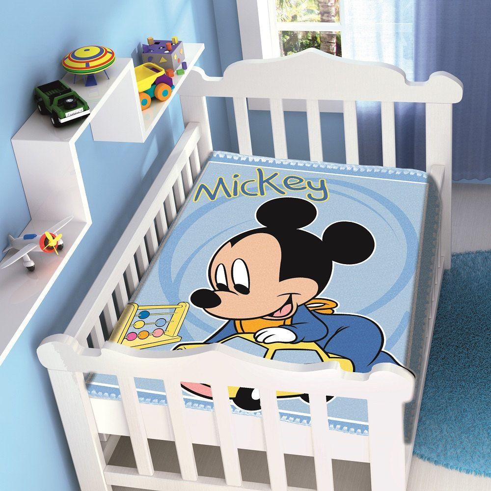 Cobertor Jolitex Infantil Berço Bebê Disney Mickey Carrinho Azul