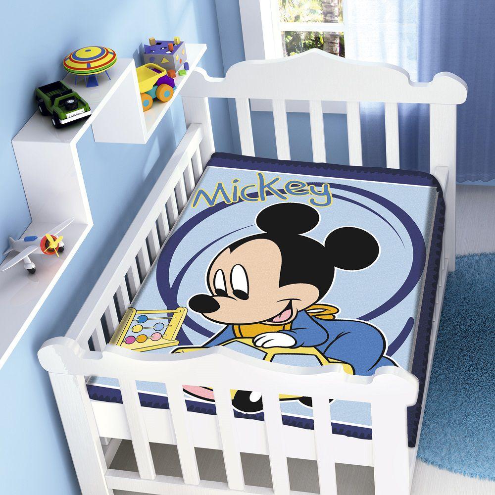Cobertor Jolitex Infantil Berço Bebê Disney Mickey Carrinho Marinho