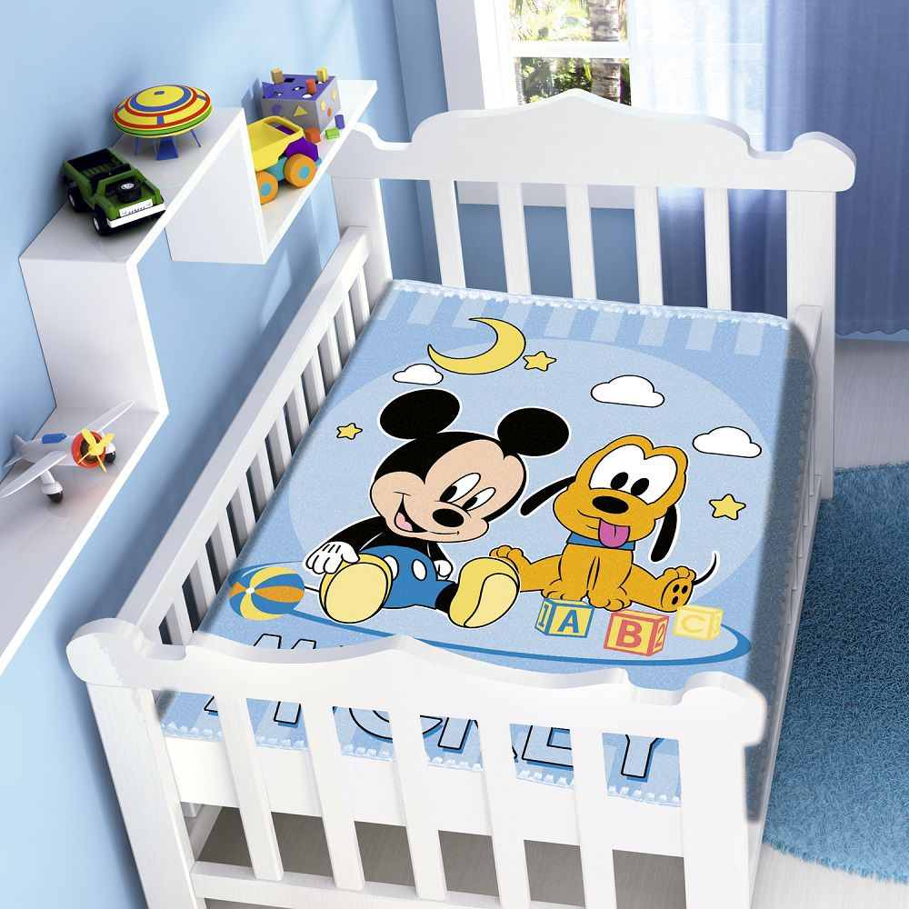 Cobertor Jolitex Infantil Berço Bebê Disney Mickey e Pluto Azul