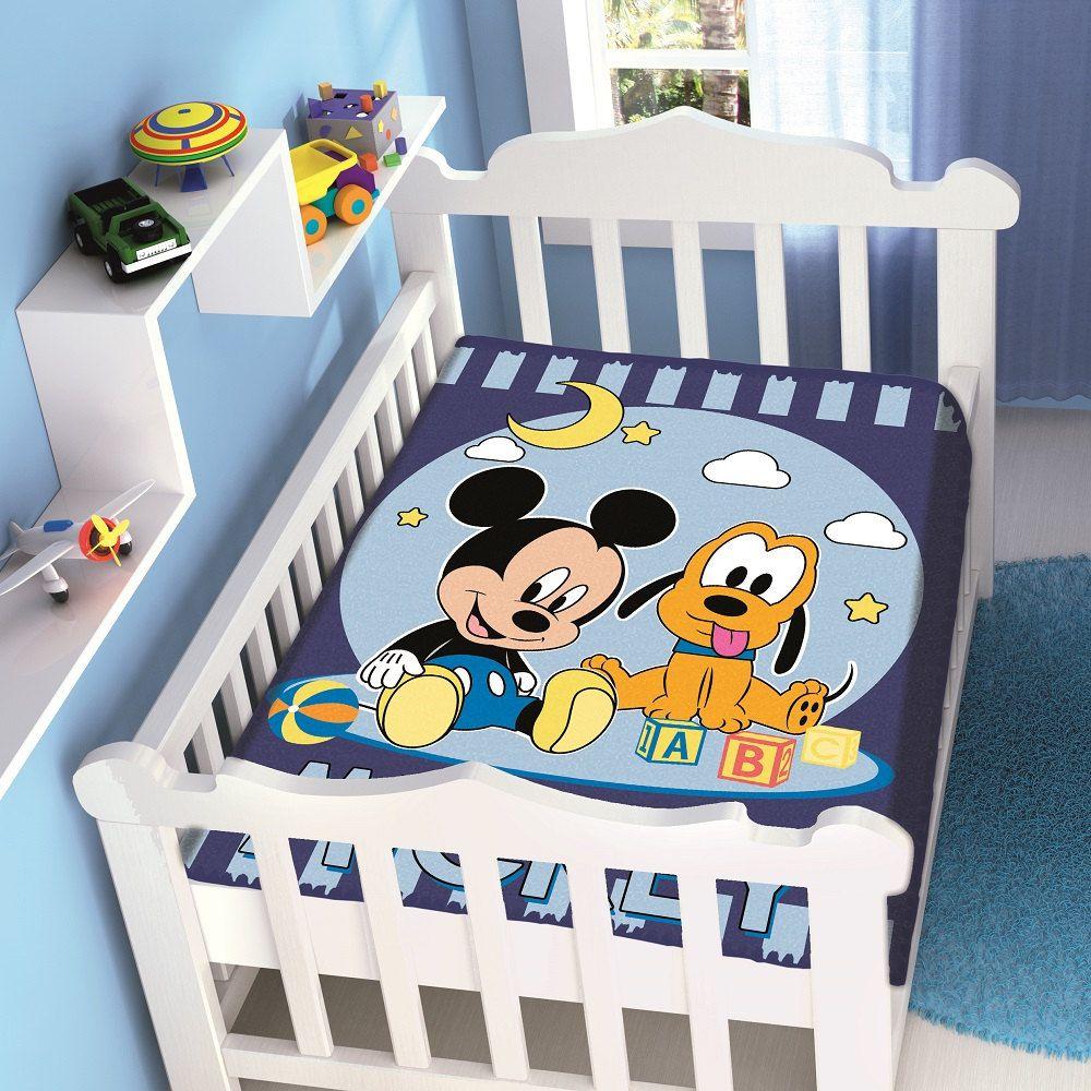 Cobertor Jolitex Infantil Berço Bebê Disney Mickey e Pluto Marinho